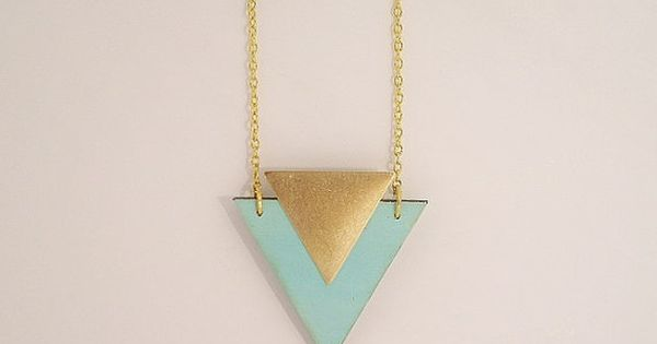 Mint Wooden Necklace by RachellovesBob on Etsy, £15.00