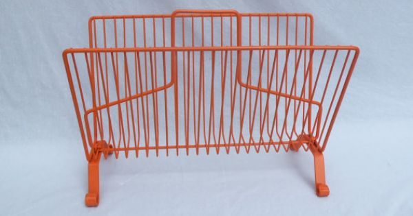 Vintage Atomic Orange Magazine Or Towel Wire Rack Tablet Ipad Storage Remote Living Room Home