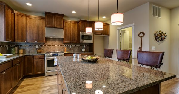 Kitchen Tropic Brown Granite With Chestnut Stained