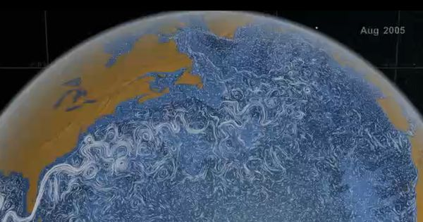 Visual of ocean currents around the world 2005-2007