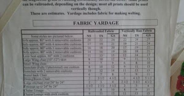 Yardage Chart Slipcovers And Upholstery Pinterest Slipcovers