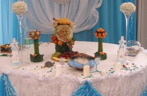 Beach Theme Wedding Decoration Fruit Carving Display