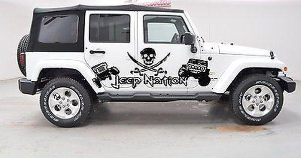 Jeep Nation Pirate Flag Rodger Wrangler Rubicon Car Vinyl Graphics Off Road J015 Wrangler Car Car Vinyl Graphics Jeep