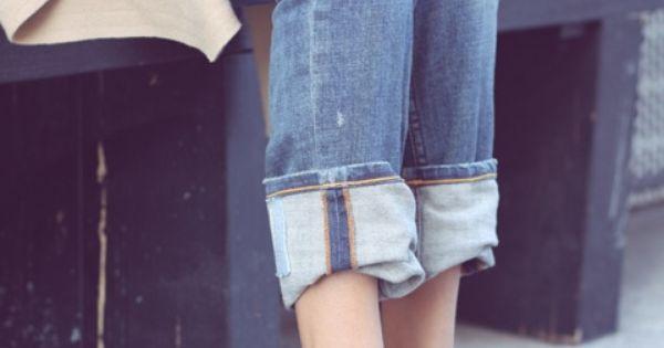 rolled jeans, heels. perf