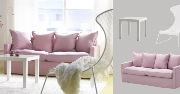H Rn Sand Three Seat Sofa With Olstorp Light Pink Cover