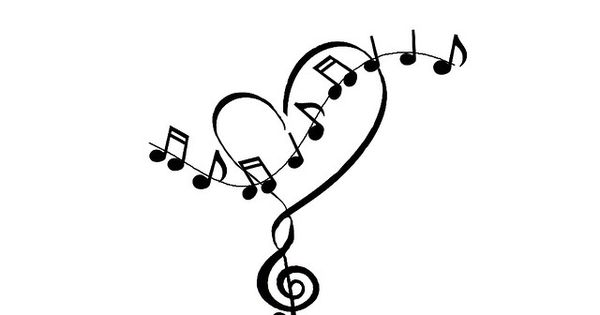 heart and music notes tattoo idea