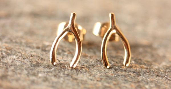 Gold Wishbone Studs | A pair of these somehow ended up in