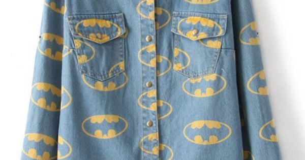 Blue Lapel Opening Mouth Print Denim Blouse $33.55 nananananaananannananananananann BATMAN sheInside