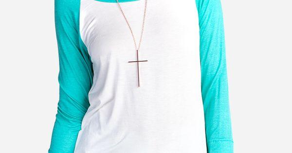 Teal Sleeved Baseball Shirt With Thumb Holes Dailylook