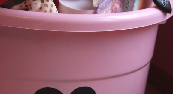 Your DoItYourself Gift Ideas: Baby shower gift in a tub (toy bin)