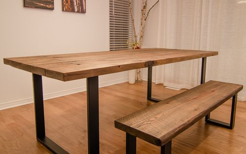 Reclaimed Wood Steel U Shape Table And Bench
