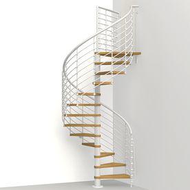 Arke Oak Xtra 51 In X 10 Ft White Spiral Staircase Kit K26128 | 10 Ft Spiral Staircase | Handrail | 36 Tall | Arke Phoenix | Stair Kit | Arke Enduro