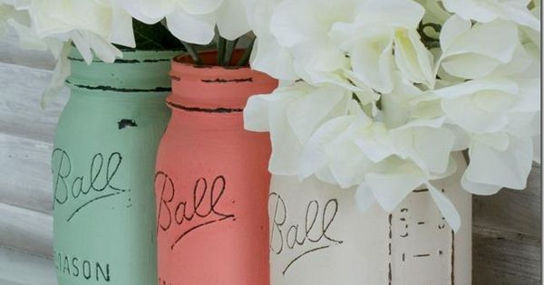 mint-green, coral & white painted mason jars. Add a touch of color