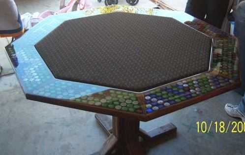 How To Do Bottle Cap Tables And Bartops With Pourable Epoxy Bottle Cap Table Poker Table Diy Diy Table Top