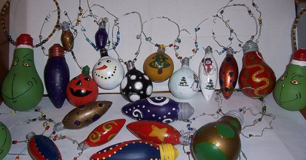 Christmas ornaments from old light bulbs