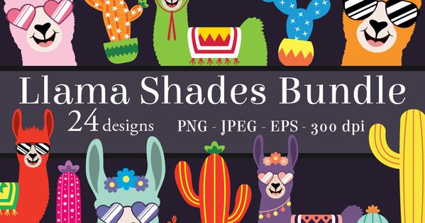 Llama Shades Clipart Bundle Llamas Clip Art Png Printable Etsy Clip Art Llama Clipart Llama