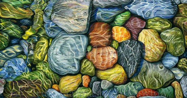 Pebbles In Water Landscape Pencil Drawings Abstract Art Painting Color Pencil Art