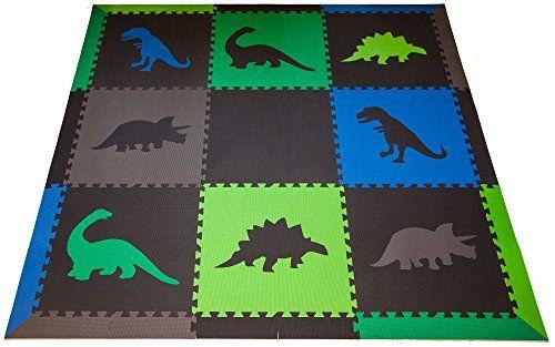 Amazon Com Softtiles Large Premium Interlocking Dinosaur Foam Mat With Sloped Borders Black Blue Green Dinosaur Nursery Childrens Play Mat Dinosaur Room