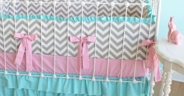 Ruffle crib skirt, love these colors together, for my future baby girl.