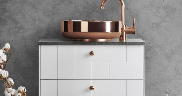 White Superfront Bathroom Cabinet With Copper Sink Home