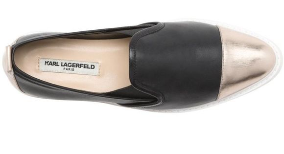 Karl Lagerfeld Paris Shoes Cler Metallic Leather Pointy Toe