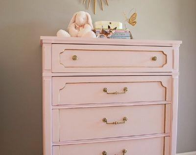 DIY chalk paint recipe: Pink and Gold Chalk Dresser