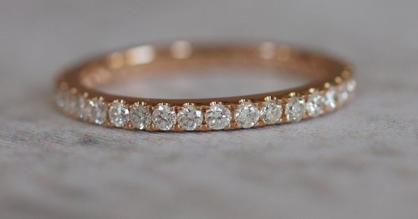 A circlet of sparkling diamonds. 2mm full eternity diamond band - rose,