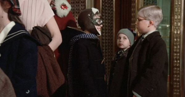 A Christmas Story Kid In Line To See Santa