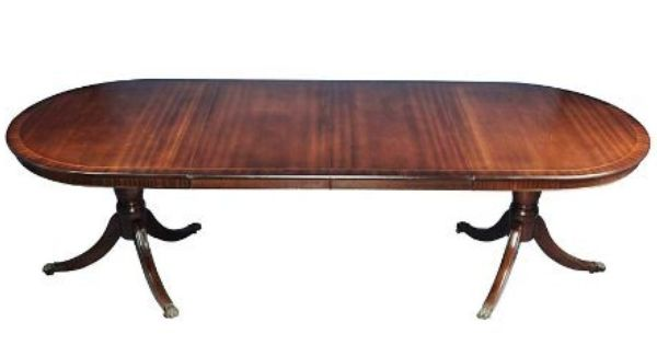 Antique Mahogany Duncan Phyfe Style Double Pedestal Dining