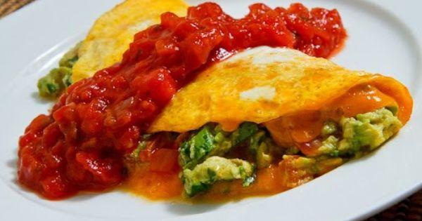 Guacamole Omelette with Salsa Recipe