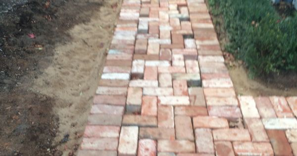 Reclaimed Red Brick Paving Yard: Laying Pavers For A Path