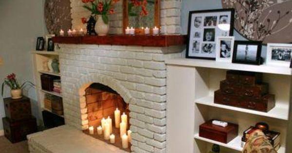 Acogedora chimenea en ladrillo blanco puedes consultar - Revestimiento de ladrillo ...