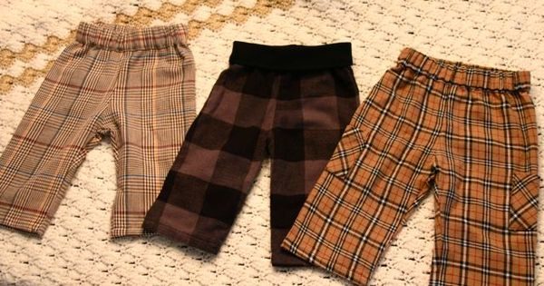 Baby boy pants from flannel shirt sleeves