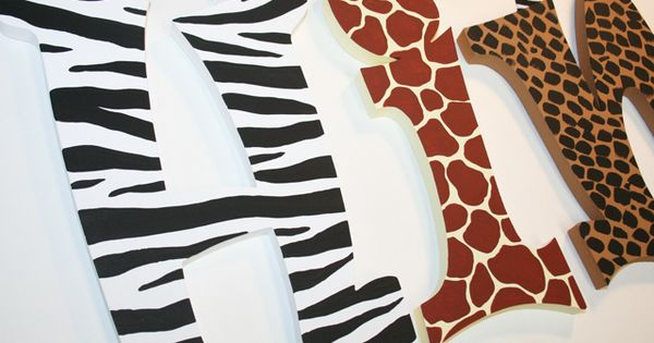 Animal Print Wall Letters-jungle print letters, cheetah print wall letters, leopard print