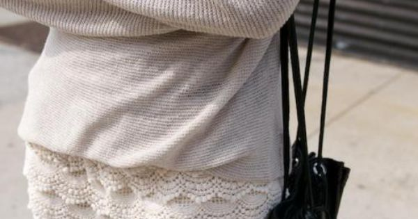 love baggy sweater with lace skirt