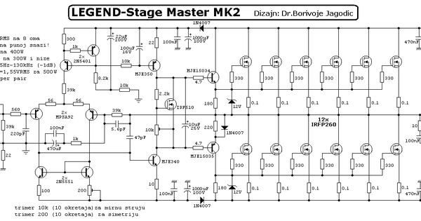 1000w high power amplifier with mosfet circuit schematic diagram