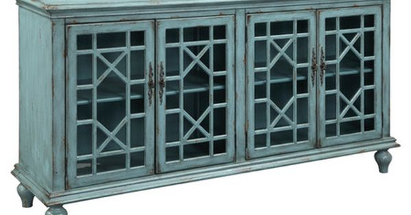 Showcasing A Distressed Bayberry Blue Finish And Glass