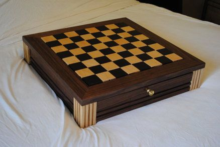 Walnut Chess Board W Drawers Chess Board Wood Chess Wooden Chess Board
