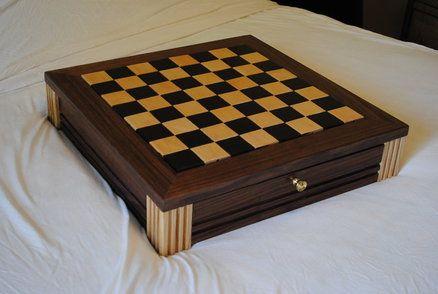 Walnut Chess Board W Drawers Chess Board Wood Chess Wood Chess Board
