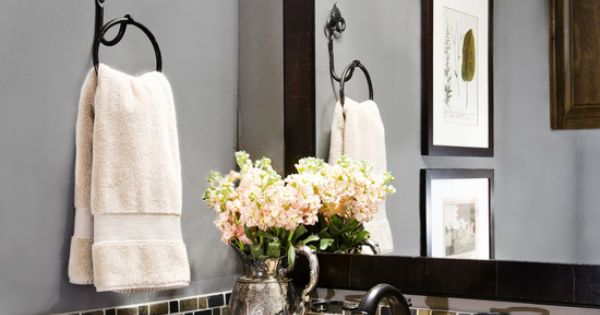 Back splash- half bath -A small band of glass tile is a