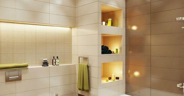 badezimmer kleines beleuchtung idee einbauregal indirekt licht bidet wohnen pinterest. Black Bedroom Furniture Sets. Home Design Ideas