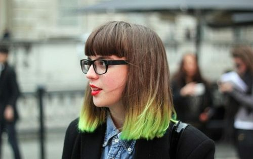 Ombre hair Neon green
