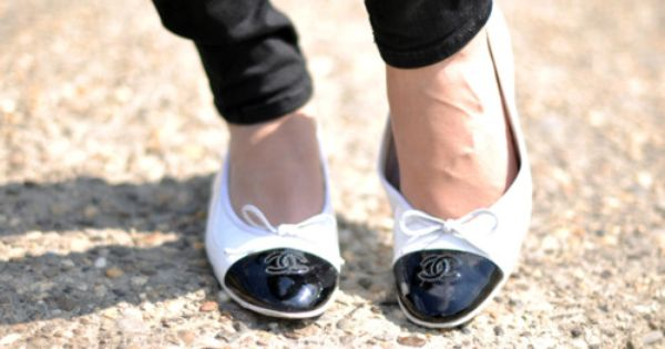 black and white chanel flats