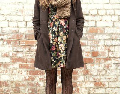 Earth Tone layers / tweed coat, knit wool staff, patterned tights, flower