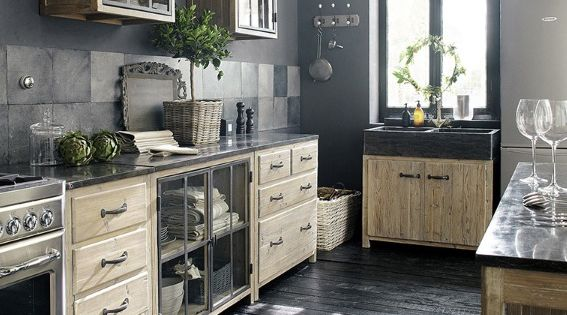 meubles de cuisine ind pendant et ilot maison du monde kitchens interiors and industrial. Black Bedroom Furniture Sets. Home Design Ideas