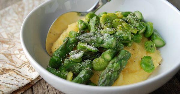 Favas + Asparagus = Spring! | Polenta, Asparagus and Beans