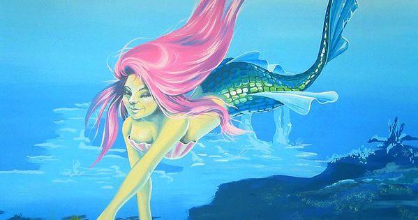 Unique room painting ideas - Painting Mermaids Mermaid Mural Mermaid Reaching For A