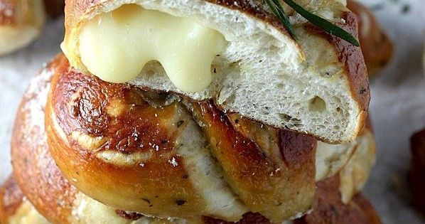 Mozzarella Stuffed Rosemary and Parmesan Soft Pretzels - Homemade soft pretzels loaded