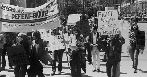 Anti Bakke Protest Students Under A Young Socialist Alliance Banner March In Protes Today In Black History University Of California Davis Affirmative Action