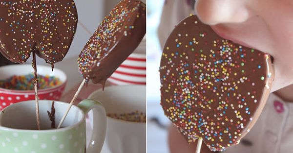 Chocolate Dipped Apple Slices - I love this idea. I like to